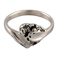 Swedish Silversmith, Modernist Ring in Sterling Silver, 1960s-1970s