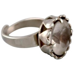Swedish Silversmith, Modernist Ring in Sterling Silver with Mountain Crystal