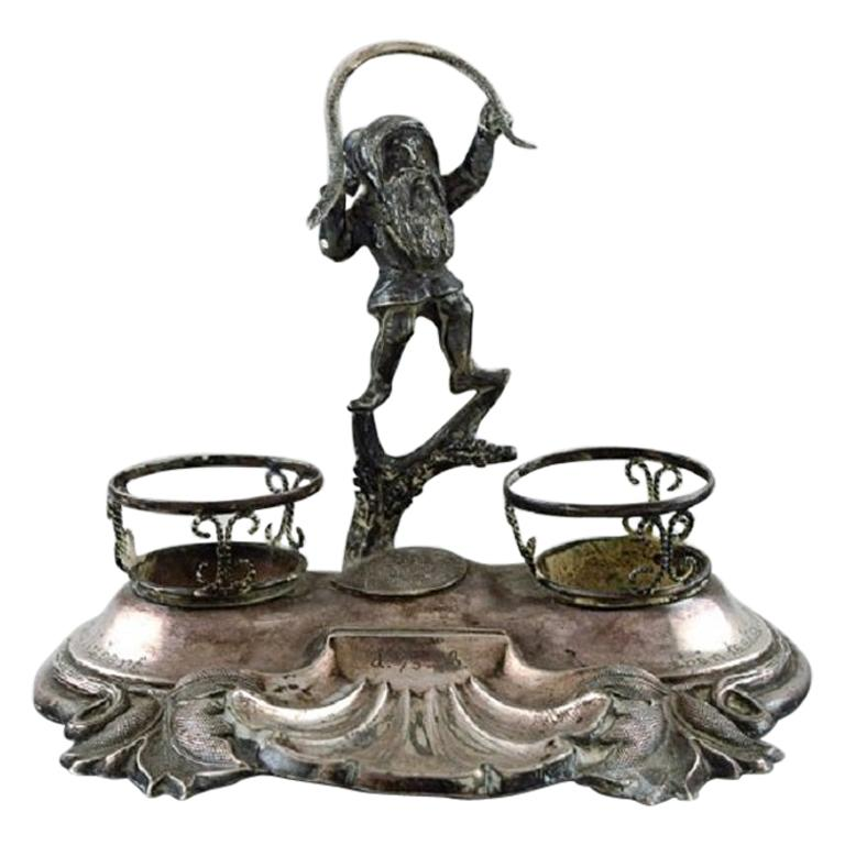 Swedish Silversmith, Writing Kit/Inkwell in Silver with Elf, 1890s