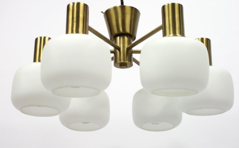 Scandinavian Modern Swedish Six Light Brass ASEA Ceiling Light, 1950s For Sale