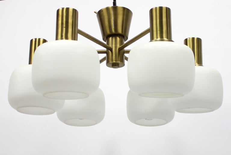 Swedish Six Light Brass ASEA Ceiling Light, 1950s In Good Condition For Sale In Uppsala, SE