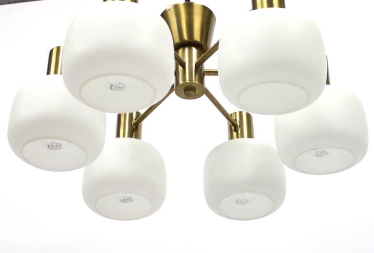 Mid-20th Century Swedish Six Light Brass ASEA Ceiling Light, 1950s For Sale