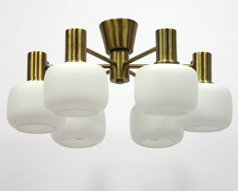 Swedish Six Light Brass ASEA Ceiling Light, 1950s For Sale 1