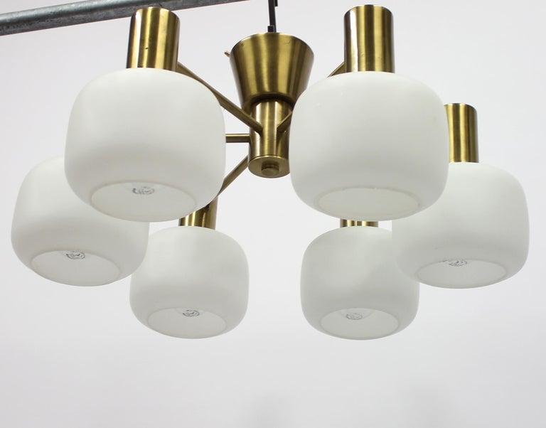Swedish Six Light Brass ASEA Ceiling Light, 1950s For Sale 3