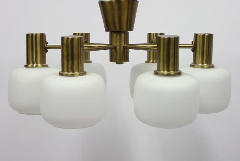Swedish Six Light Brass ASEA Ceiling Light, 1950s For Sale 4