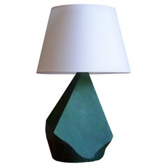 Swedish, Sizable Free Form Table Lamp, Green Painted Wood, Sweden, 1950s