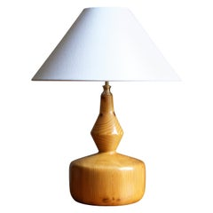Swedish, Sizable Minimalist Table Lamp, Solid Pine, Brass, Fabric, Sweden, 1970s