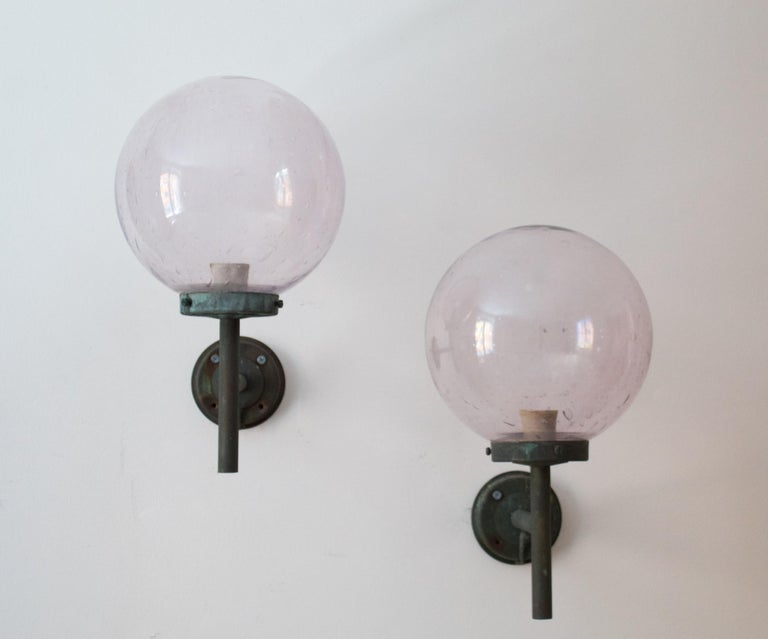 Mid-Century Modern Swedish, Sizable Wall Lights, Patinated Copper, Blown Glass, Sweden, 1950s For Sale