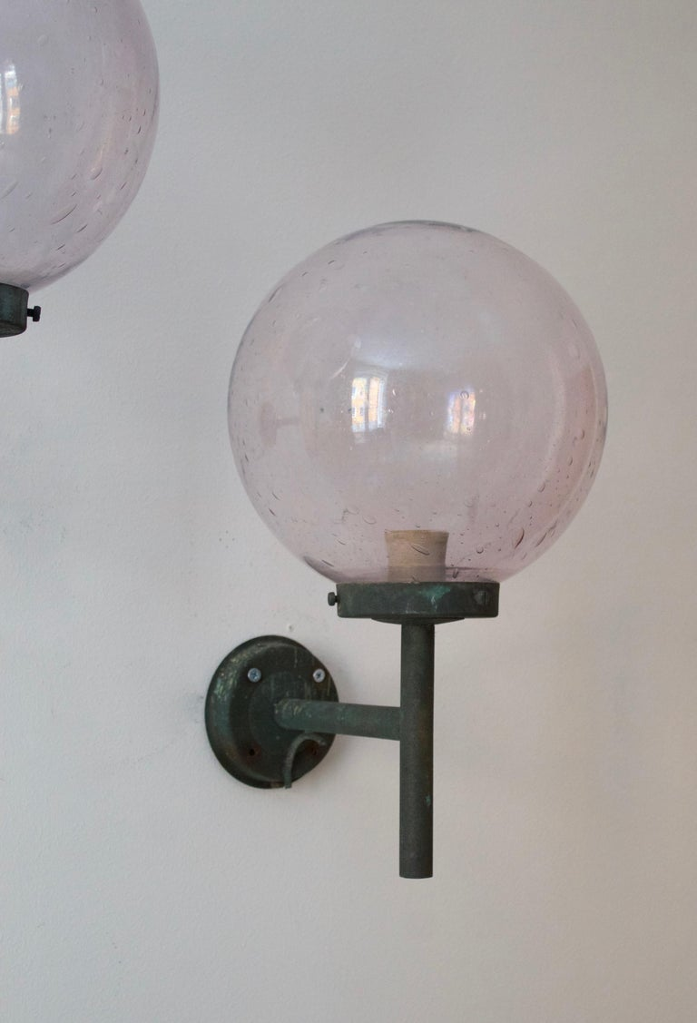Swedish, Sizable Wall Lights, Patinated Copper, Blown Glass, Sweden, 1950s In Good Condition For Sale In West Palm Beach, FL