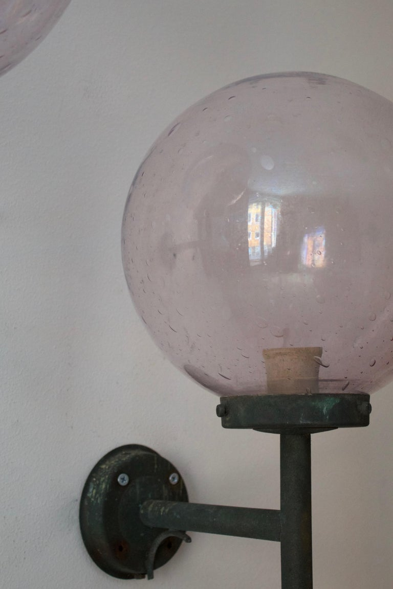 Mid-20th Century Swedish, Sizable Wall Lights, Patinated Copper, Blown Glass, Sweden, 1950s For Sale