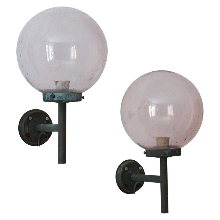 Swedish, Sizable Wall Lights, Patinated Copper, Blown Glass, Sweden, 1950s For Sale