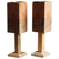 Swedish, Small Minimalist Table Lamps, Pine, Sweden, 1960s