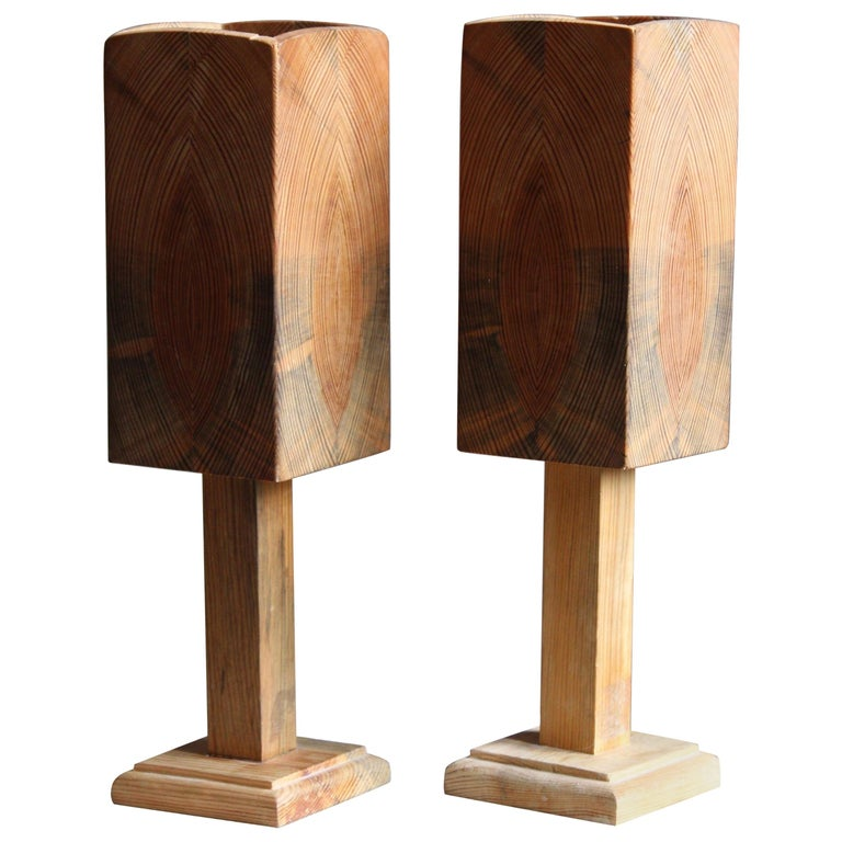 Swedish, Small Minimalist Table Lamps, Pine, Sweden, 1960s For Sale