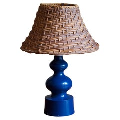 Swedish, Small Organic Table Lamp, Painted Wood, Sweden, 1960s