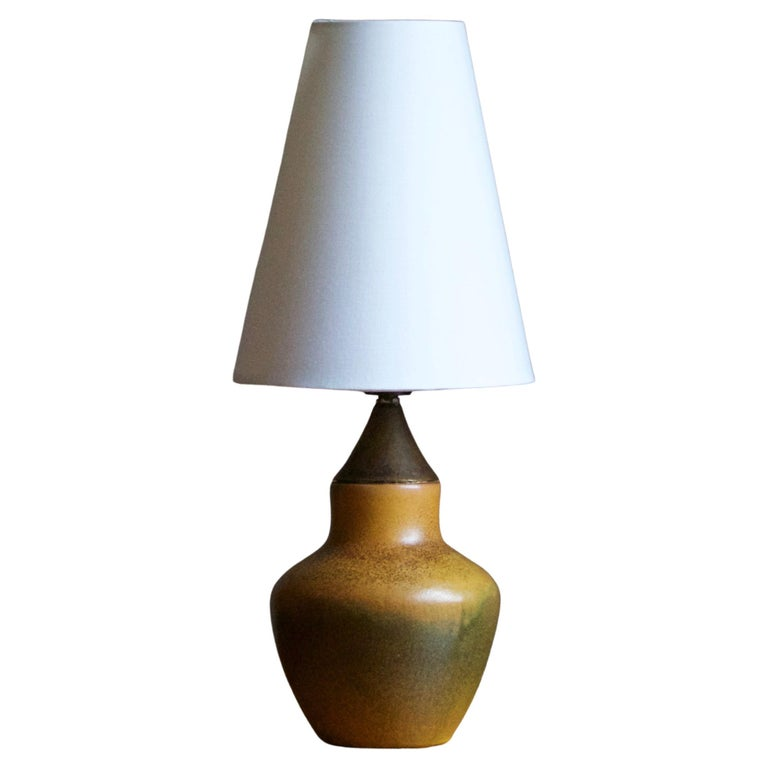 Swedish, Small Table Lamp, Glazed Ceramic, Brass, Fabric, Sweden, 1940s For Sale
