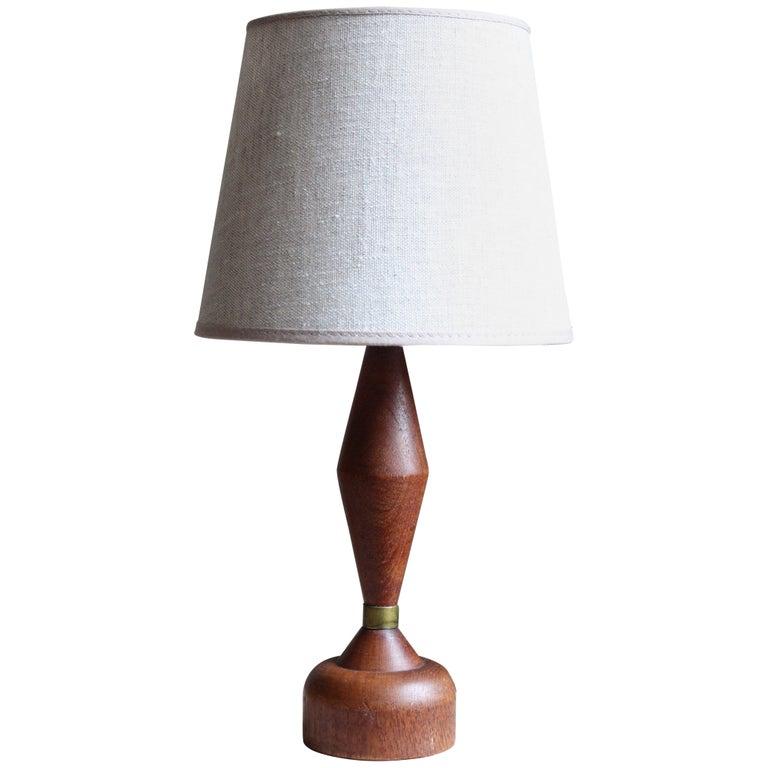 Swedish, Small Table Lamp, Teak, Brass, Linen, Sweden, 1960s For Sale