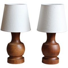 Swedish, Small Table Lamps, Solid Stained Pine, Linen, Sweden, 1960s