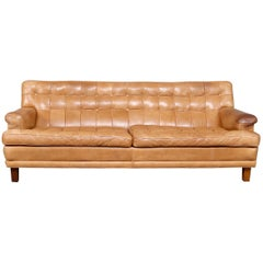 Swedish Sofa by Arne Norell 'Mexico' Tan Buffalo Leather Sofa, circa 1970s