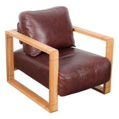 Swedish Solid Oak Framed Lounge Chair with Original Brown Leather