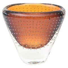 Swedish Sommerso Amber Glass with Bullecante Vase Vintage