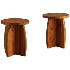Swedish Sportstuge School, Pair of Minimalist Stools or Side Tables Pine, 1970s