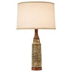 Swedish Stoneware Lamp, Signed and Labeled