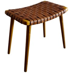 Swedish Stool in Pine and Leather, 1960s