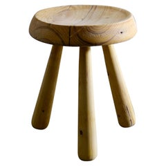 Swedish Stool in Pine in Style of Charlotte Perriand