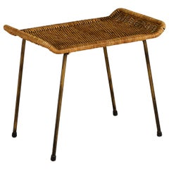 Swedish Stool Tabouret in Metal and Rattan, 1950s