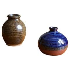 Swedish Studio Ceramicists, Vases, Semi-Glazed Stoneware, Sweden, 1970