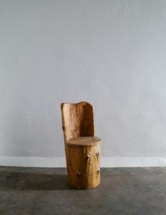 Swedish Stump Kubbestol Brutalist Primitive Chair in Pine, 1960s