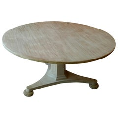 Swedish Style Alder-Wood Round Pedestal Table, Made to Customers Specifications
