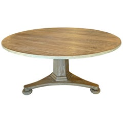 Swedish Style Contemporary Alder-Wood Round Pedestal Table