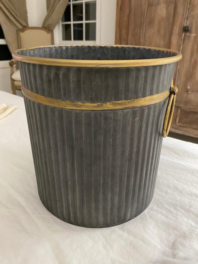 Neoclassical Swedish Style Gilt Edge Metal Wastebasket with Vintage Feel For Sale