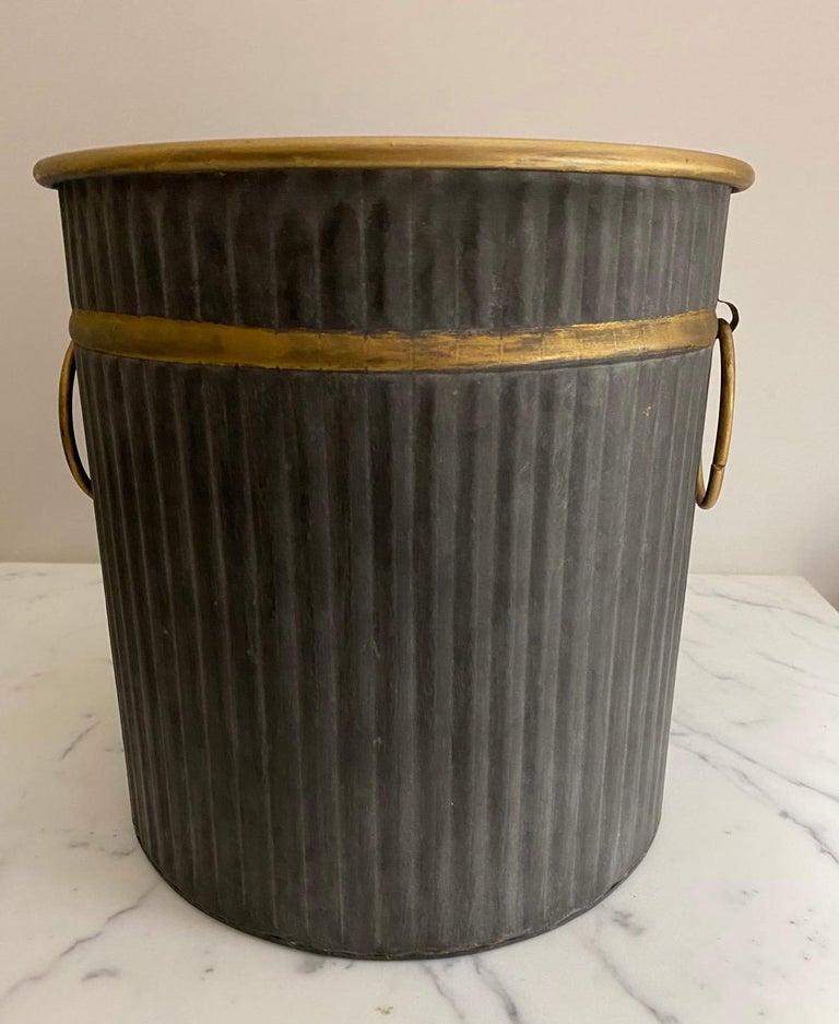 Galvanized Swedish Style Gilt Edge Metal Wastebasket with Vintage Feel For Sale