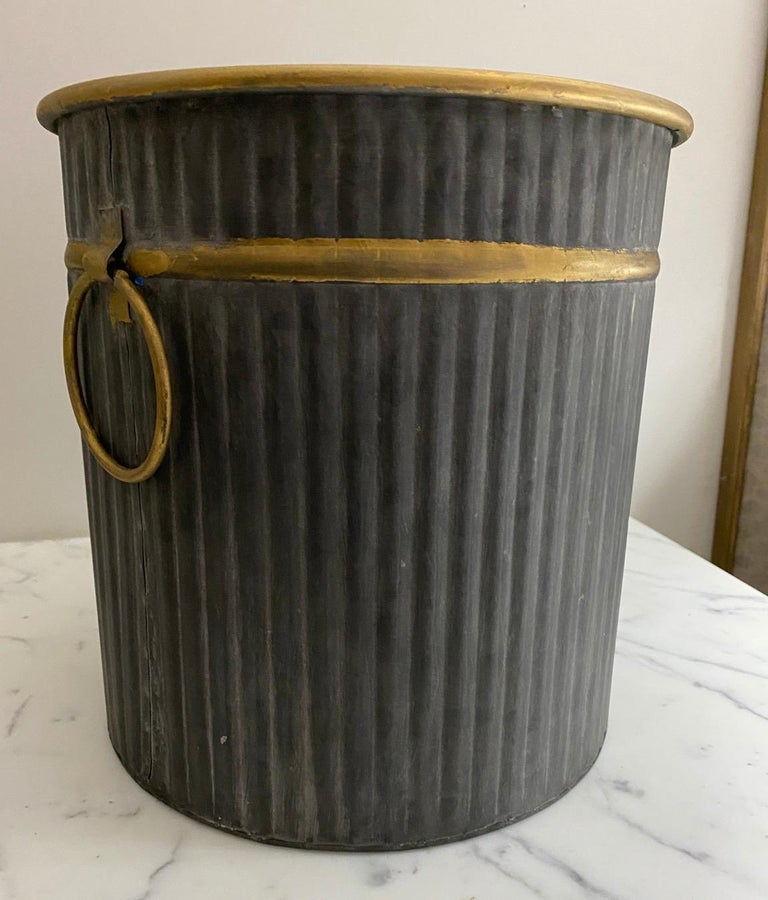 Swedish Style Gilt Edge Metal Wastebasket with Vintage Feel In New Condition For Sale In Great Barrington, MA