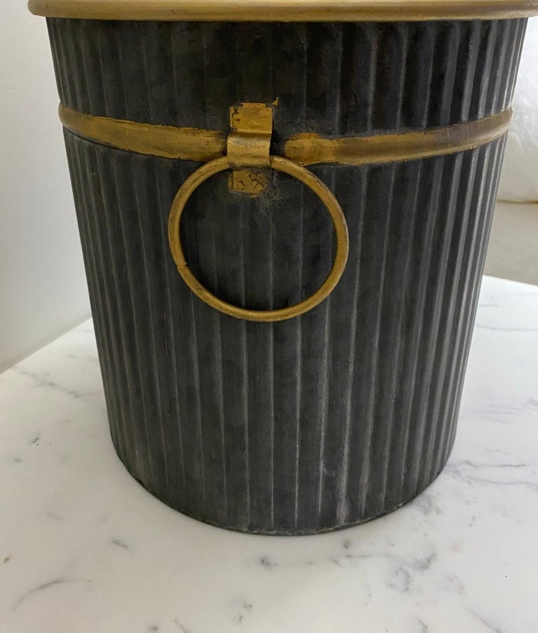 Contemporary Swedish Style Gilt Edge Metal Wastebasket with Vintage Feel For Sale