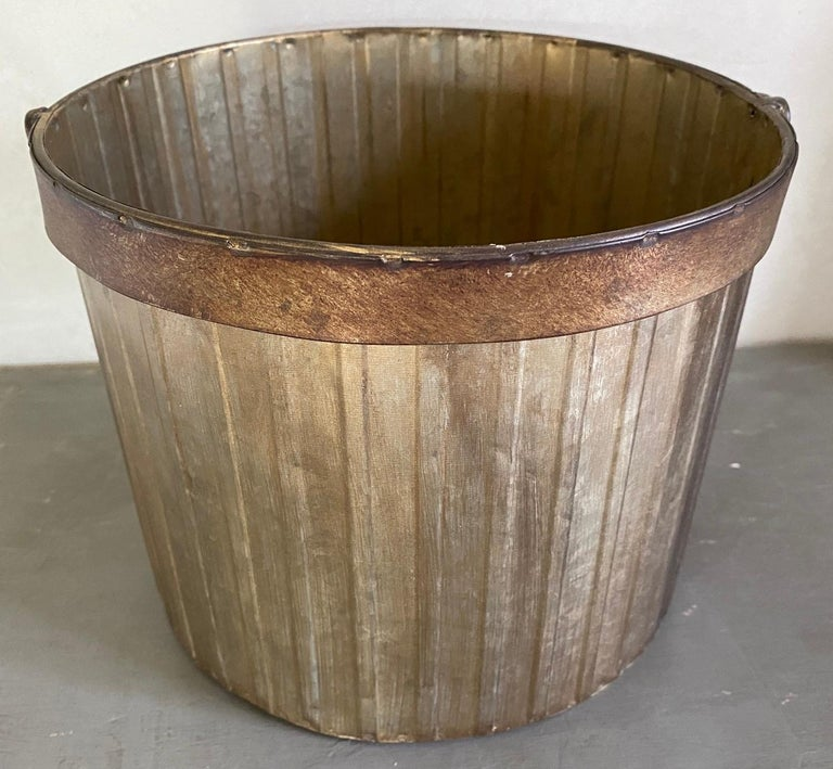 Tin Swedish Style Gilt Edge Metal Wastebasket with Vintage Feel For Sale