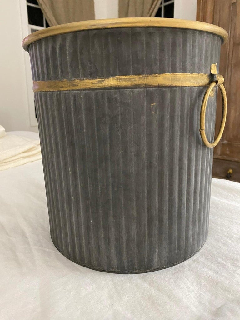 Swedish Style Gilt Edge Metal Wastebasket with Vintage Feel For Sale 3