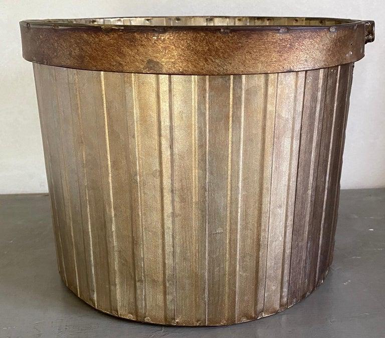 Swedish Style Gilt Edge Metal Wastebasket with Vintage Feel For Sale 2