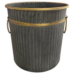 Swedish Style Gilt Edge Metal Wastebasket with Vintage Feel