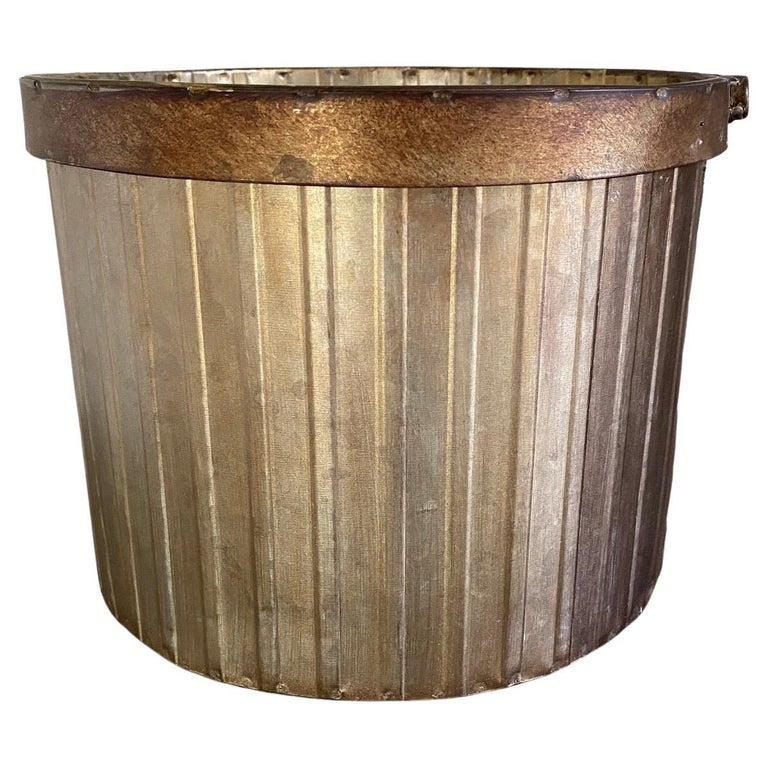 Swedish Style Gilt Edge Metal Wastebasket with Vintage Feel For Sale