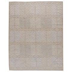 Swedish Style Ivory Kilim Deco Rug, 8' x 10'
