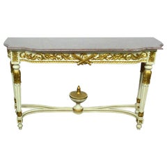 French Carved Gilded Painted Louis XVI Marble Top Console Table