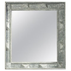 Swedish Style Mirror with Gray Blue Paint