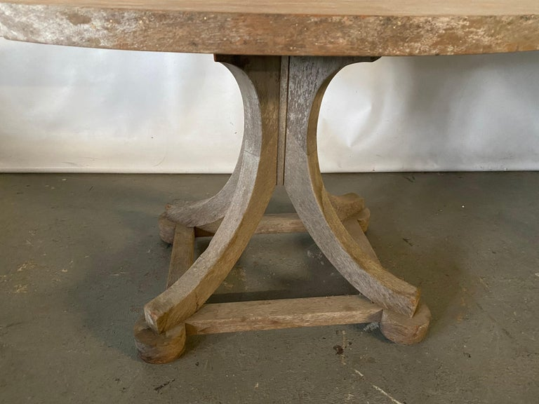 Country Swedish Style Oval Teak Side Table or Coffee Table For Sale