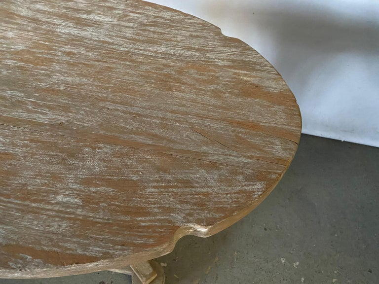 Hand-Crafted Swedish Style Oval Teak Side Table or Coffee Table For Sale