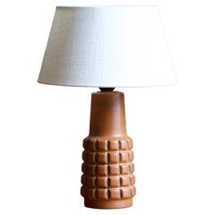 Swedish, Table Lamp, Brown Glazed Stoneware, Sweden, c. 1970s