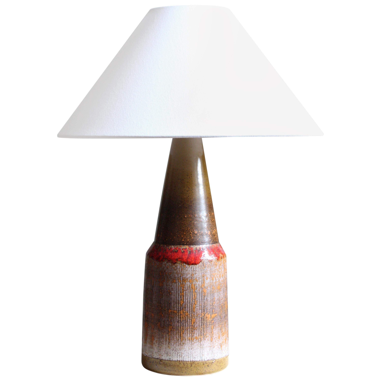 Swedish, Table Lamp, Glazed Stoneware, Fabric, Sweden, circa 1950s