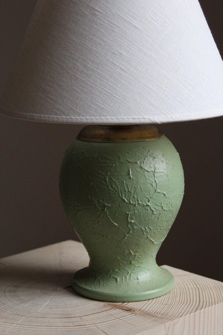 Swedish, Table Lamp, Green-Glazed Ceramic, Brass, Linen, Sweden, 1930s In Good Condition For Sale In West Palm Beach, FL